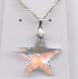 28mm Swarovski Star Crystal Ab Pendant On 45cm Sterling